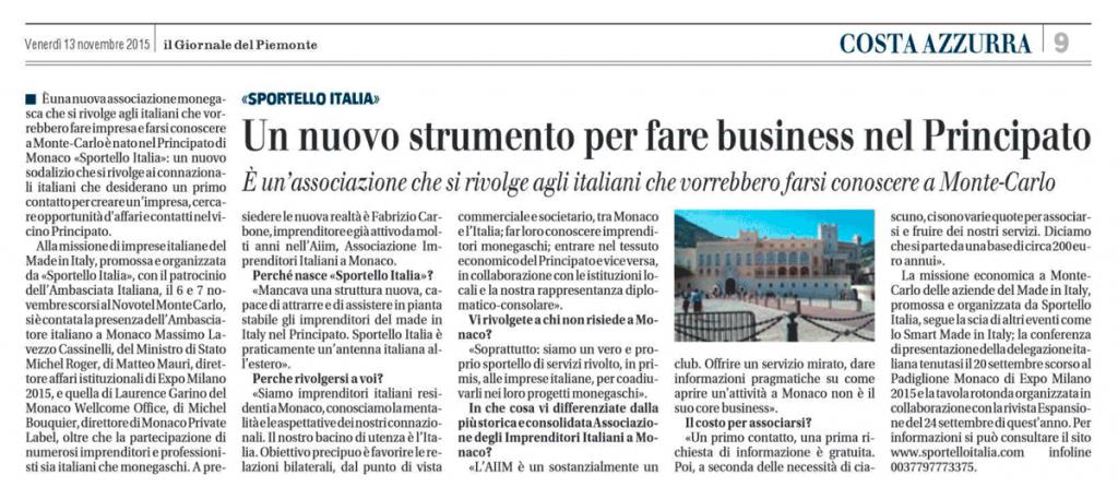 Il Giornale del Piemonte - Venerdi 13 Novembre 215