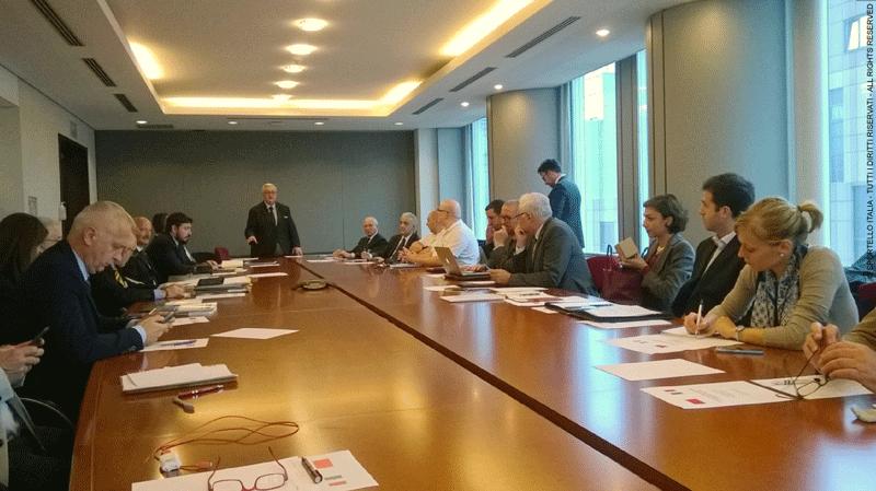 Un momento dei lavori tra le delegazioni italiana e marocchina e del discorso introduttivo dell'onorevole Mario Borghezio